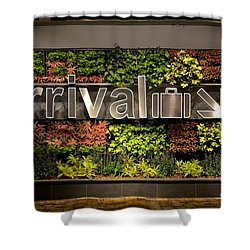 Arrival Sign Arrow And Flowers At Singapore Changi Airport Shower Curtain by Imran Ahmed