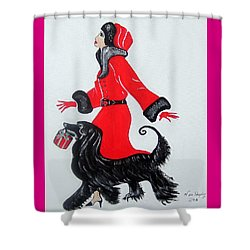Shower Curtain featuring the painting Art Deco  Girl With Red  Coat by Nora Shepley
