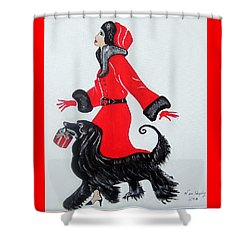 Art Deco  Girl With Red  Coat Shower Curtain