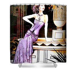 Art Deco Lady In Purple Shower Curtain by The Creative Minds Art and Photography