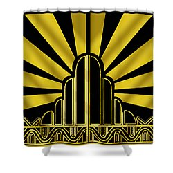 Art Deco Poster - Two Shower Curtain by Chuck Staley