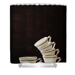Art Deco Teacups Shower Curtain by Amanda Elwell