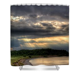 Art For Crohn's Lake Ontario Sun Beams Shower Curtain by Tim Buisman