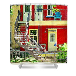 Art Of Montreal Upstairs Porch With Summer Chair Red Triplex In Verdun City Scene C Spandau Shower Curtain by Carole Spandau