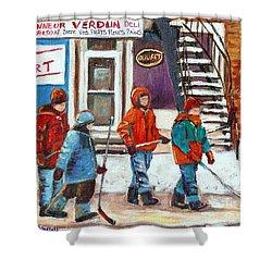 Art Of Verdun Depanneur Deli Patisserie Fleuriste Fruits Montreal Paintings Hockey Art Scenes Verdun Shower Curtain by Carole Spandau