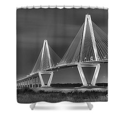 Arthur Ravenel Jr. Bridge In Black And White Shower Curtain