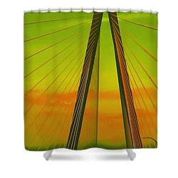 Arthur Ravenel Jr Bridge V Shower Curtain by DigiArt Diaries by Vicky B Fuller