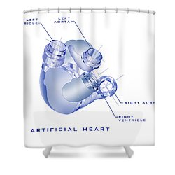 Artificial Heart Shower Curtain by James Christopher Hill
