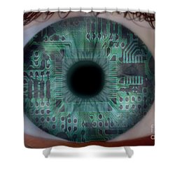 Artificial Intelligence Shower Curtain by Mike Agliolo