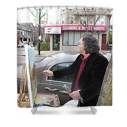 Artist At Work Buffalo Shower Curtain by Ylli Haruni
