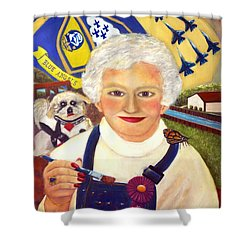 Shower Curtain featuring the painting Artist At Work Portrait Of Mary Krupa by Bernadette Krupa