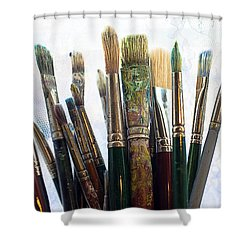 Artist Paintbrushes Shower Curtain by Garry Gay