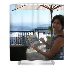 Artist Painting Monaco Shower Curtain by Valerie Freeman