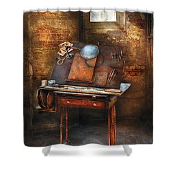 Artist - The Etching Table Shower Curtain by Mike Savad