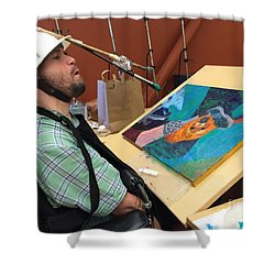 Shower Curtain featuring the photograph Artist Working by Donald J Ryker III