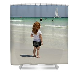 As The Sail Boat Rolls By Shower Curtain by Charles Beeler