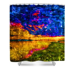 Shower Curtain featuring the painting As The World Ends by Joe Misrasi