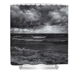 As The World Turns Mono Shower Curtain by Rachel Cohen