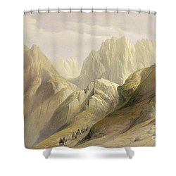 Ascent Of The Lower Range Of Sinai Shower Curtain by David Roberts