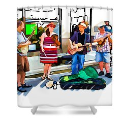 Asheville Buskers Shower Curtain