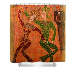 Shower Curtain featuring the painting Asian Dancers by Marie Schwarzer