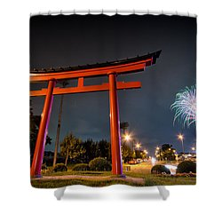 Asian Fireworks Shower Curtain by John Swartz