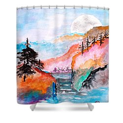 Asian Moonscape Shower Curtain