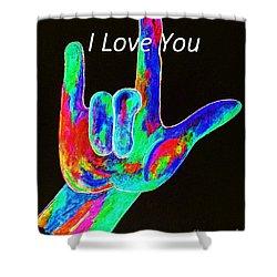 Asl I Love You On Black Shower Curtain by Eloise Schneider