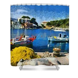 Asos Village In Kefallonia Island Shower Curtain by George Atsametakis