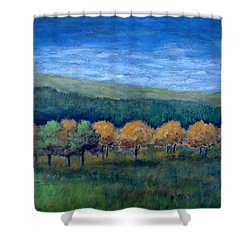 Aspen Gold Shower Curtain by Suzanne Theis
