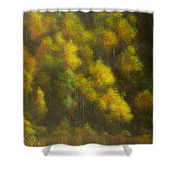 Aspens And Cattails Shower Curtain