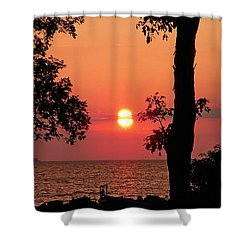 Shower Curtain featuring the photograph Association Island Sunset by Aimee L Maher Photography and Art Visit ALMGallerydotcom