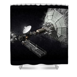 Shower Curtain featuring the digital art Asteroid Mining And Processing by Bryan Versteeg