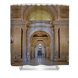 Astor Hall At The New York Public Library Shower Curtain by Susan Candelario