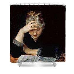 At A Book Shower Curtain by Maria Konstantinova Bashkirtseva