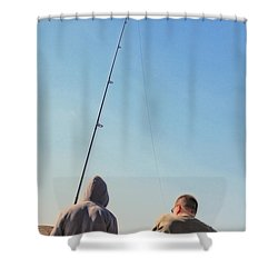 At Fishing Shower Curtain by Karol Livote