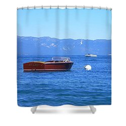 At Last Lake Tahoe Woody Shower Curtain