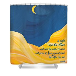 At Night With Rumi And The Moon Shower Curtain