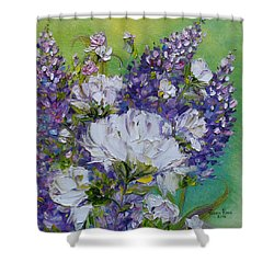 Shower Curtain featuring the painting At Peg's Request by Judith Rhue