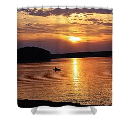 At Peace On The Lake Shower Curtain