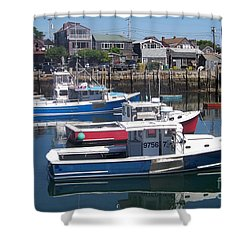 Colorful Boats Shower Curtain by Eunice Miller