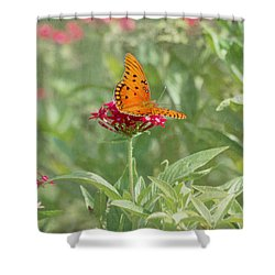 At Rest - Gulf Fritillary Butterfly Shower Curtain