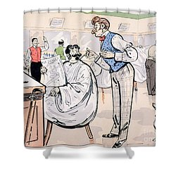 At The Barber And Reading Le Jockey Shower Curtain by Thelem