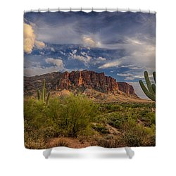 At The Base Of The Mountain Shower Curtain by Saija  Lehtonen
