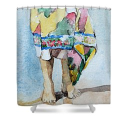Shower Curtain featuring the painting At The Beach 1  by Becky Kim