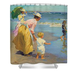 At The Beach Shower Curtain by Edward Potthast