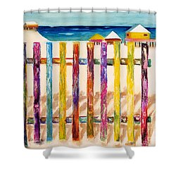 At The Beach Shower Curtain by Frances Marino