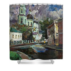 At The Church Sergius In Moscow Shower Curtain