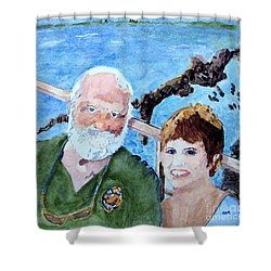 Shower Curtain featuring the painting At The Dock Of The Bay by Sandy McIntire