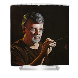 At The Easel Self Portrait Shower Curtain